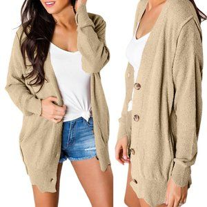 Khaki Buttoned Casual Sweater Lightweight Cardigan
